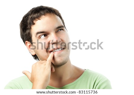 portrait of thoughtful young man isolated on white background - stock photo