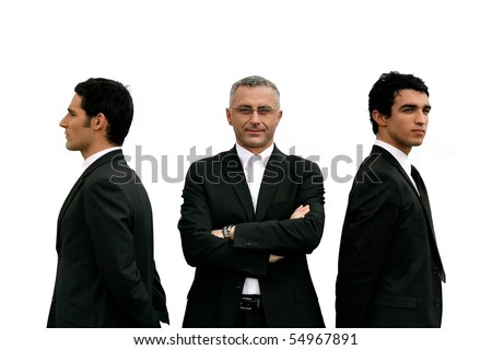 Portrait of three businessmen on white background - stock photo