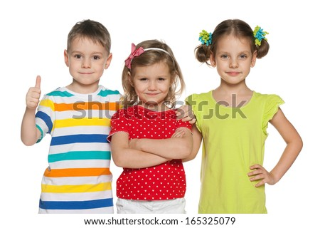 Portrait of three cheerful preschoolers on the white background - stock photo