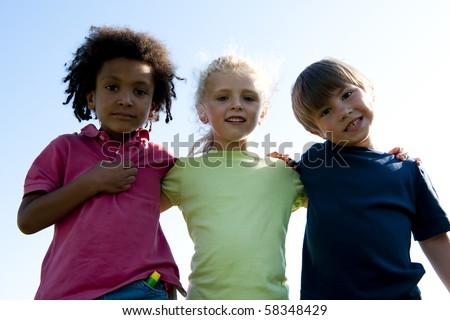 Portrait of three children - stock photo