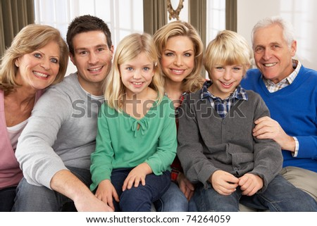 Portrait Of Three Generation Family At Home - stock photo