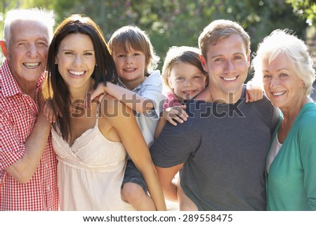 Portrait of Three Generation Family In Countryside - stock photo