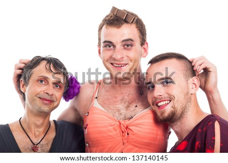Portrait of three happy boys cross-dressing, isolated on white background - stock photo