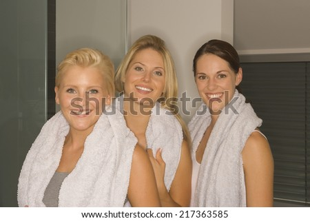Portrait of three women with towels