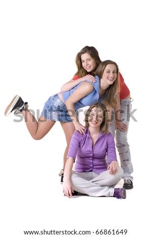 Portrait of three young beautiful happy girls - stock photo
