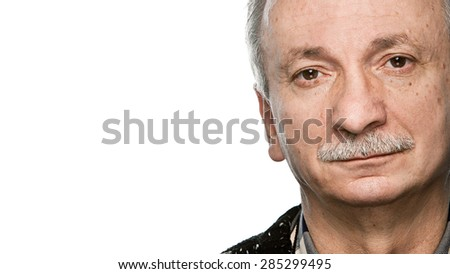 Portrait of tired senior man isolated on white with copy-space