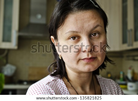 Portrait of tired woman. - stock photo