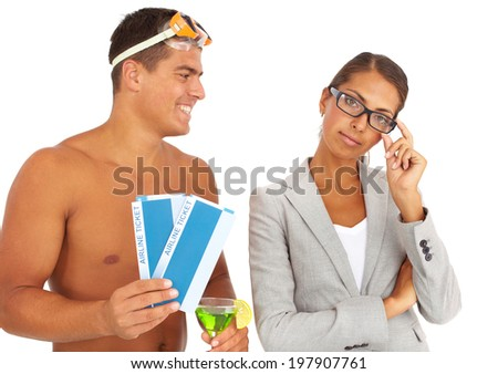 Portrait of topless guy with tickets and cocktail offering serious businesswoman to have journey - stock photo
