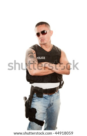 Portrait of Tough Latino Cop on White Background - stock photo