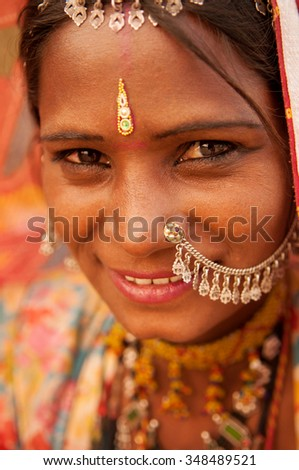 Portrait of traditional Indian Rajasthani woman, India people.