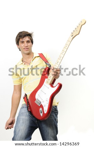 Portrait of trendy teen playing electric guitar - isolated - stock photo