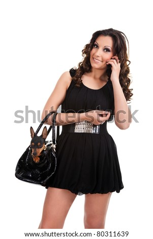 portrait of trendy woman with   miniature  pincher in bag, isolated on white background - stock photo
