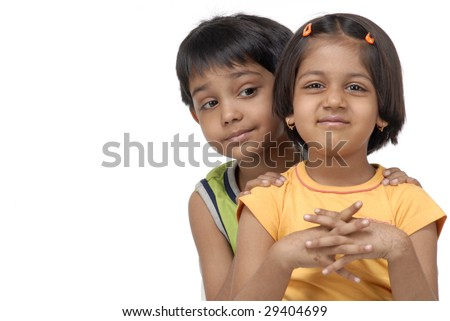 portrait of twins brother and sister - stock photo