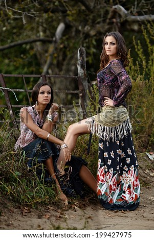 Portrait of two beautiful girls gypsy - stock photo
