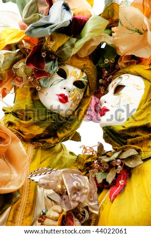 Portrait of two Beautiful mask in Venice, Italy. - stock photo