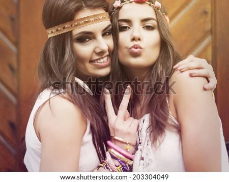Portrait of two beautiful summer girls  - stock photo