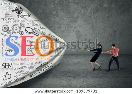 Portrait of two business people pulling SEO banner - stock photo