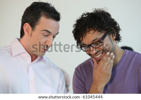 Portrait of two businessmen - stock photo
