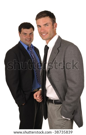 Portrait of two businessmen in business suits isolated on a white background
