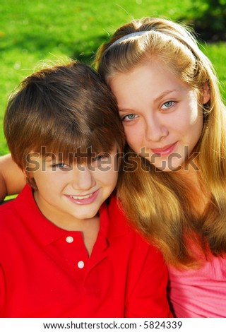Portrait of two children - brother and sister - stock photo