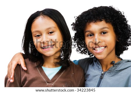 Portrait of two children smiling isolated over white - stock photo