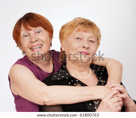 Portrait of two elderly sisters
