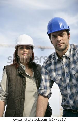 Portrait of two entrepreneurs - stock photo
