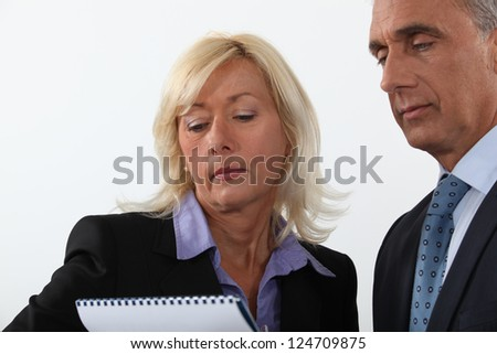 Portrait of two executives - stock photo