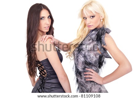 portrait of two fashion  women, young beauty,  isolated on background