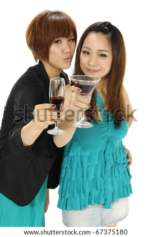 Portrait of two friends with glasses of wine, - stock photo