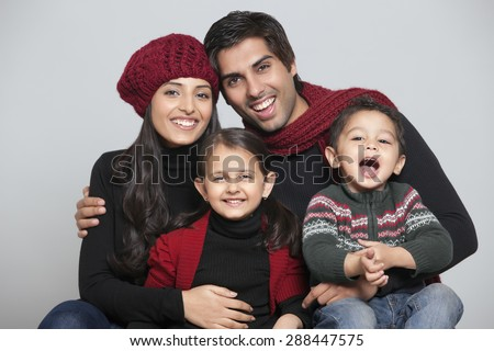 Portrait of two generation family - stock photo