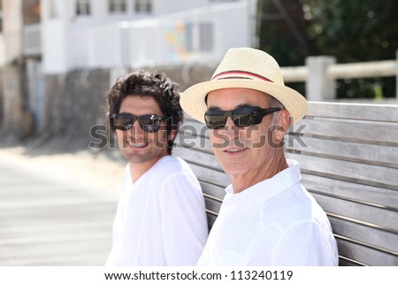 Portrait of two generations - stock photo