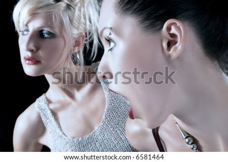portrait of two girls with expressions 2 - stock photo