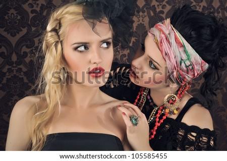 Portrait of two gorgeous woman. - stock photo