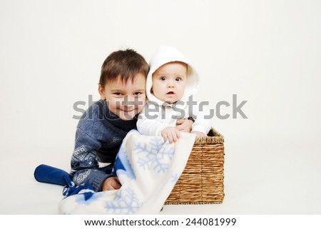 Portrait of two happy little brother - stock photo