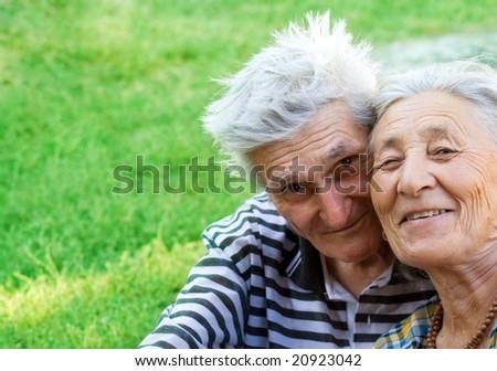 Portrait of two happy seniors still in love - stock photo