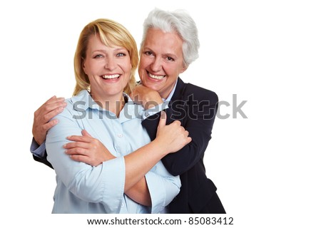 Portrait of two happy smiling senior women - stock photo