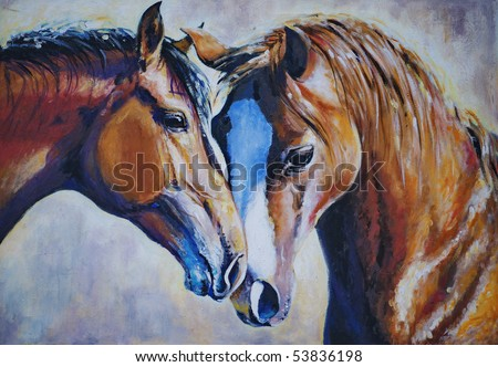 Portrait of two horses acrylic painted.Picture I have created myself. - stock photo