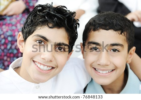 Portrait of two kids and best friends - stock photo