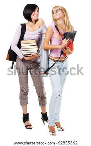 Portrait of two lovely students, isolated on white - stock photo