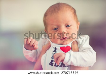 portrait of two months old baby boy - stock photo
