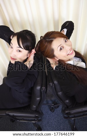 Portrait of two office Japanese ladies
