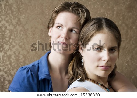 Portrait of Two Pretty Young Women Friends - stock photo