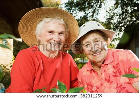 Portrait of two senior women - stock photo