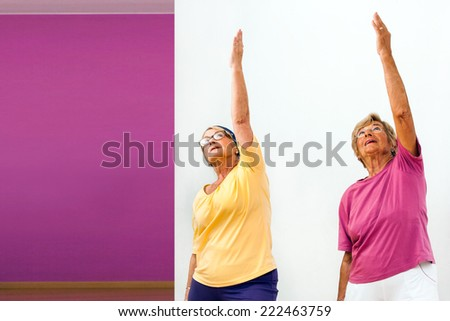 Portrait of two Senior women doing aerobics in gym.