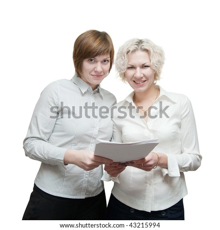 Portrait of two smiling businesswomans holding document  over white - stock photo