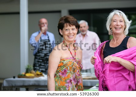Portrait of two smiling senior women - stock photo