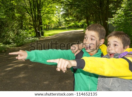 Portrait of two surprised boys, twins are pointing and hugging - stock photo