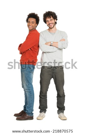 Portrait Of Two Young Men With Armcrossed Isolated On White Background - stock photo