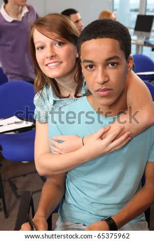 Portrait of two young students - stock photo